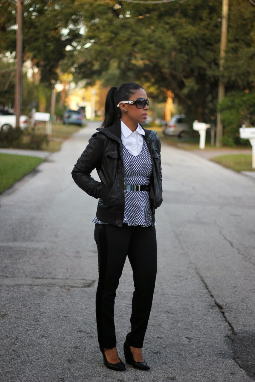 leather bomber jacket, metallic belt black and white fendi navette earrings