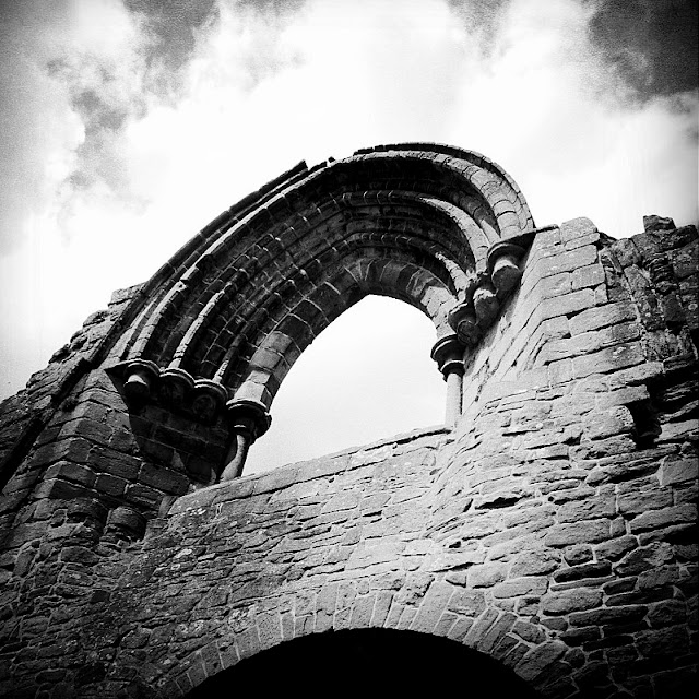 Black and white shot of Lilleshall Abbey ruins