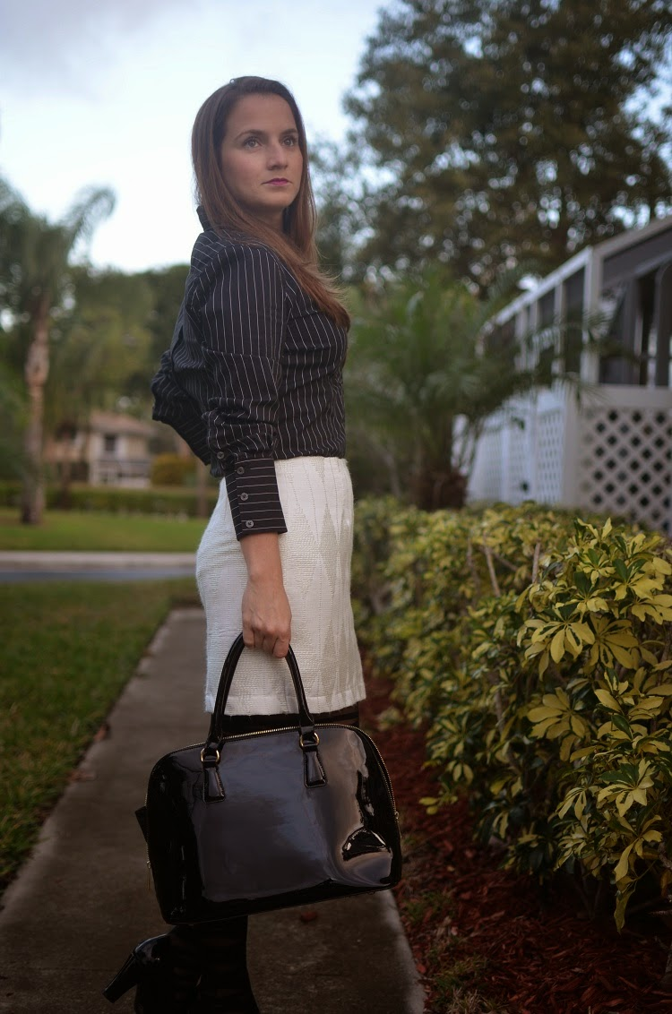 white skirt - black tights - patent bag - patent pumps - pinstriped top