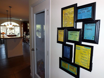 dry erasable weekly calendar with menu board made from picture frames