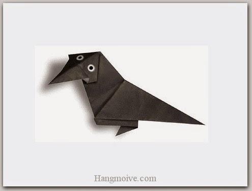 Cách gấp, xếp con quạ đen bằng giấy origami - Video hướng dẫn xếp hình Động vật - How to fold a black crow