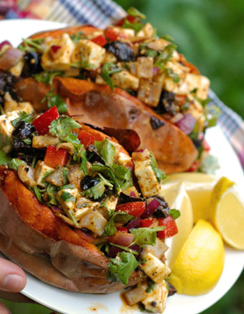 Sweet Potato, Spicy Feta Cheese Salad ~ Plant Based Recipes