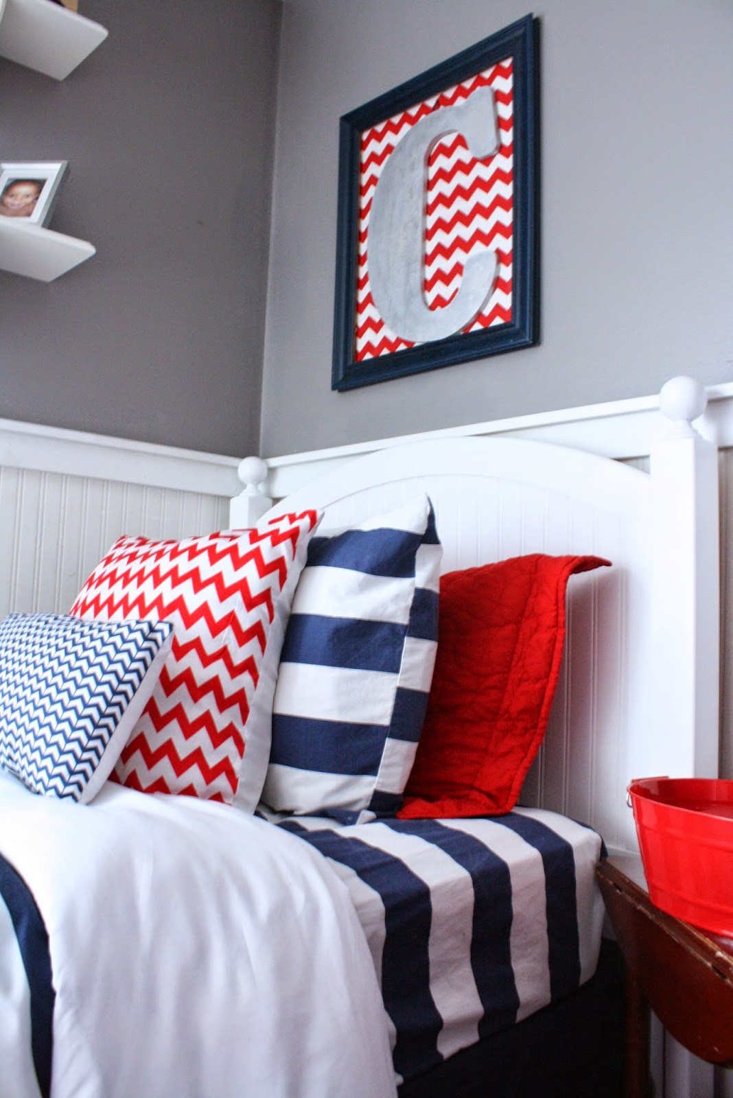 Shared boys 39 room nursery reveal fearfully wonderfully for Blue and white boys room