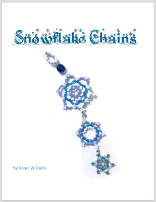 The cover page for Karen Williams' Snowflake Chains tutorial featuring a three-tiered snowflake ornament