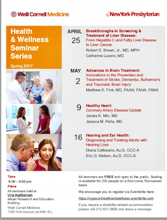 Weill Cornell Medicine & NY-Presbyterian Present Free Health/Wellness Spring Seminar Series