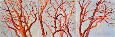 Katherine Kean, triptych, original oil painting, orange, red, trees