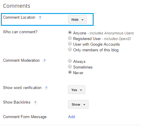How to enable or disable comments in blogger | 101helper blogger