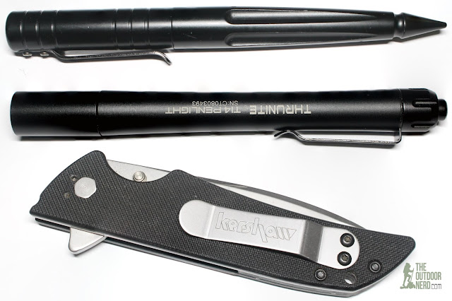 Thrunite Ti4 2xAAA Flashlight / Penlight Another With Smith & Wesson Tactical Pen and Kershaw Skyline Pocket Knife