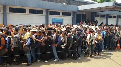 Penampakan Membludaknya Pelamar Pengendara Go-Jek di Senayan