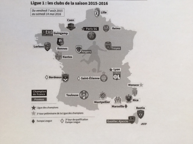 Clubs foot Ligue 1 2015 2016