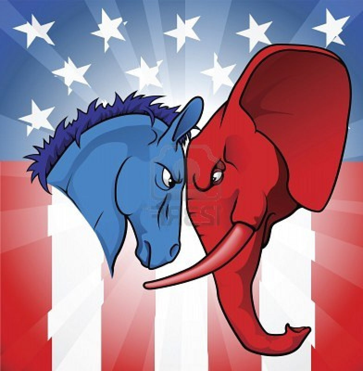 Democrat And Republican Symbol Elephant Republican an...