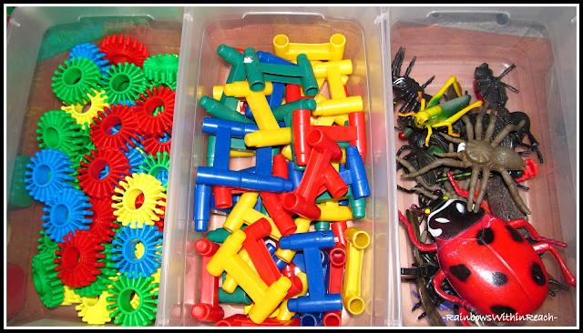 photo of: Fine Motor Supplies + Building Materials Organized in Preschool (Organizational RoundUP via RainbowsWIthinReach)