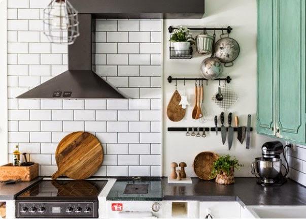 Cocina con azulejo biselado