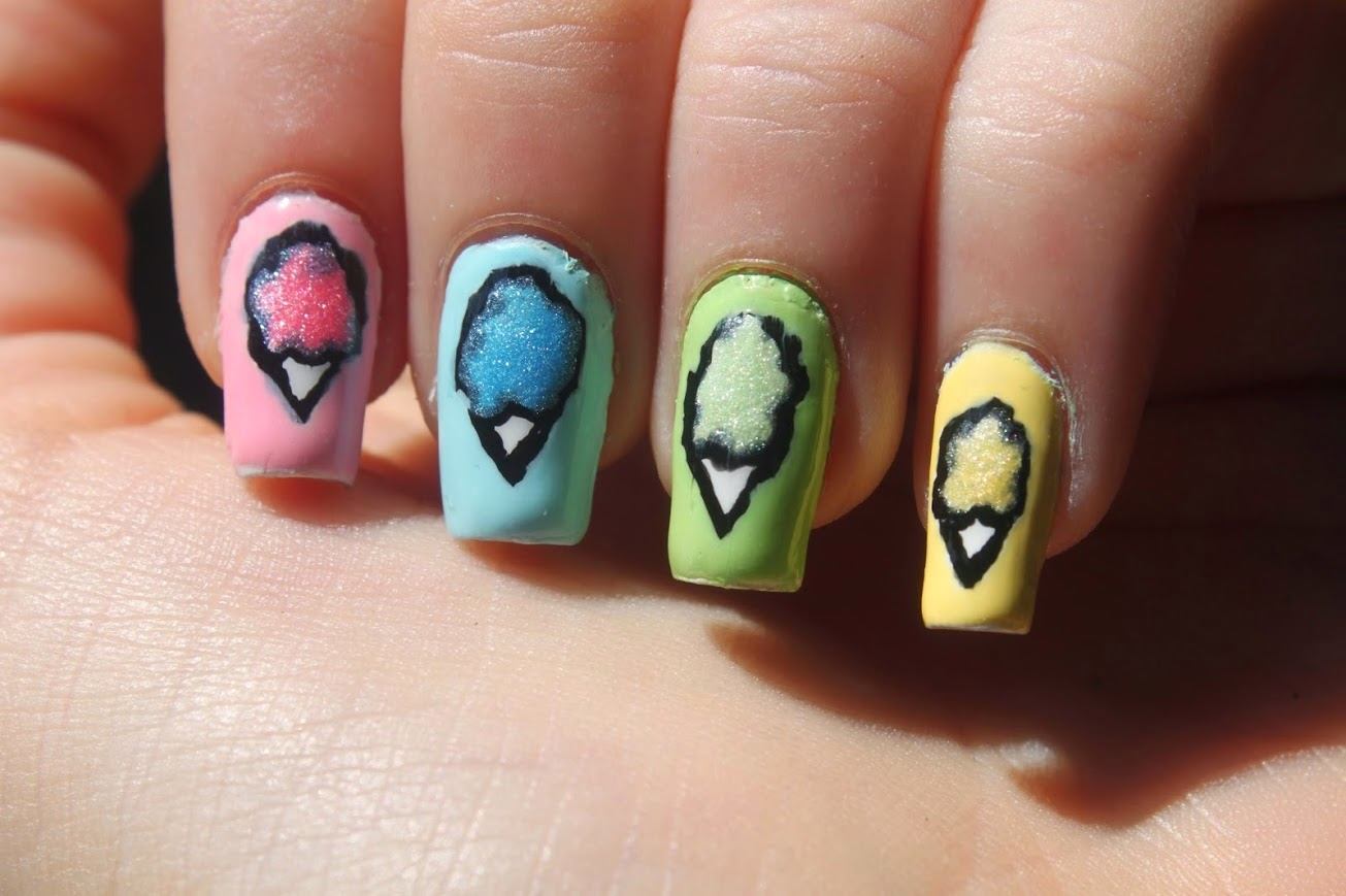 By My Fingertips Rainbow Cotton Candy Nail Art Using Rimmel Sweetie