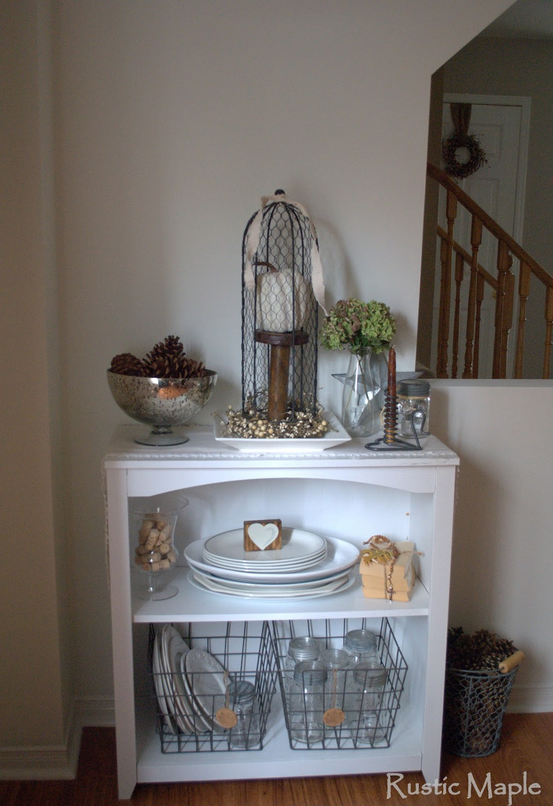 Fall Bookcase Vignette In Our Dining Room