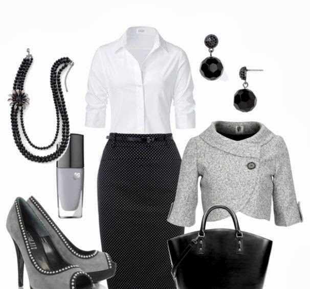 White shirt, black skirt, grey jacket, black hand bag and grey high heels for fall