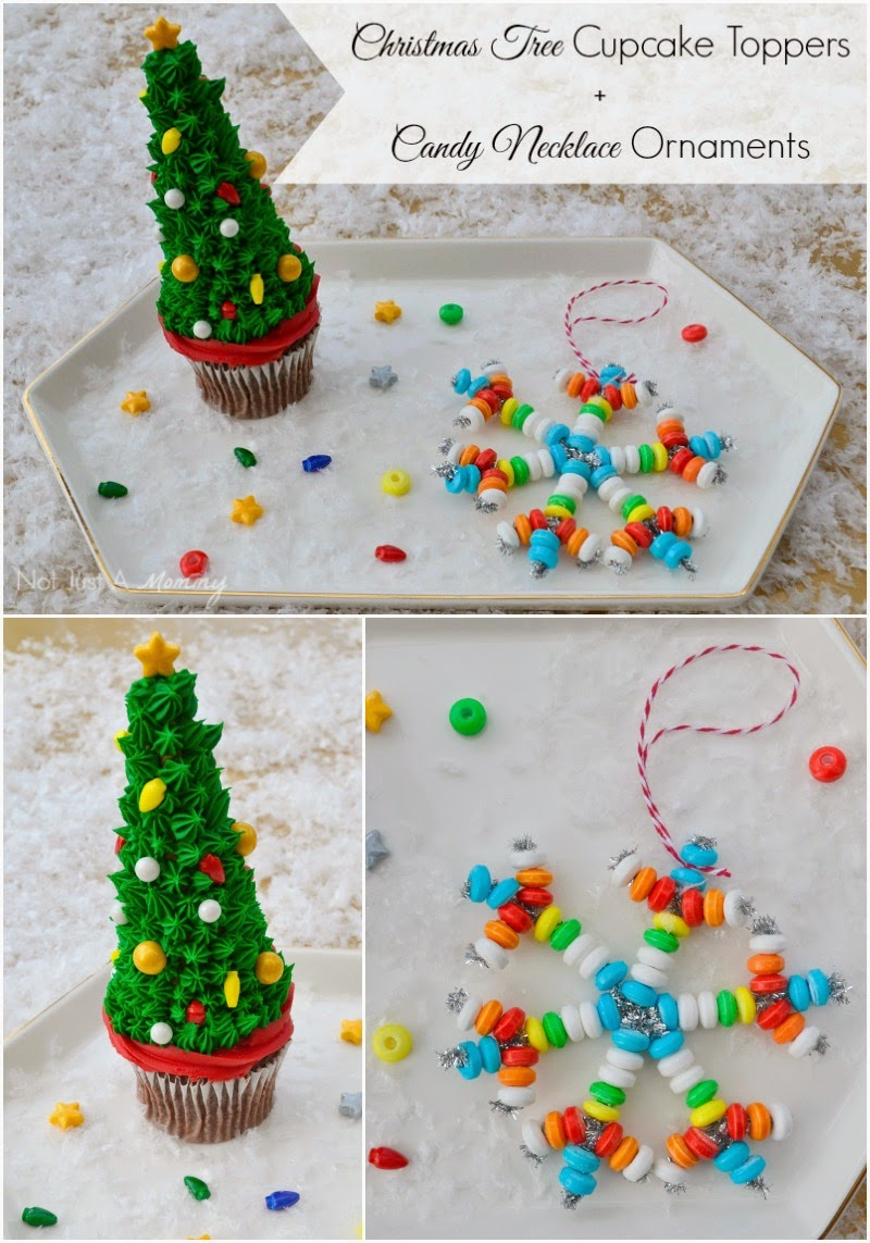Tuesday Tutorial - Christmas Tree Cupcake Toppers + Candy Bracelet Ornaments