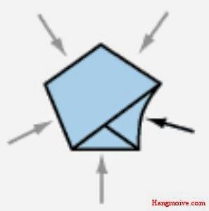 Bước 6: Bây giờ để ngũ giác này hình thành một ngôi sao, bạn nhẹ nhà và từ từ sử dụng móng tay để bấm vào trung tâm của mỗi cảnh ngũ giác cho nó lõm vào. Ngôi sao sẽ phùng lên