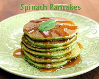 Spinach Pancakes, whole-wheat pancakes with fresh spinach, light and fluffy.