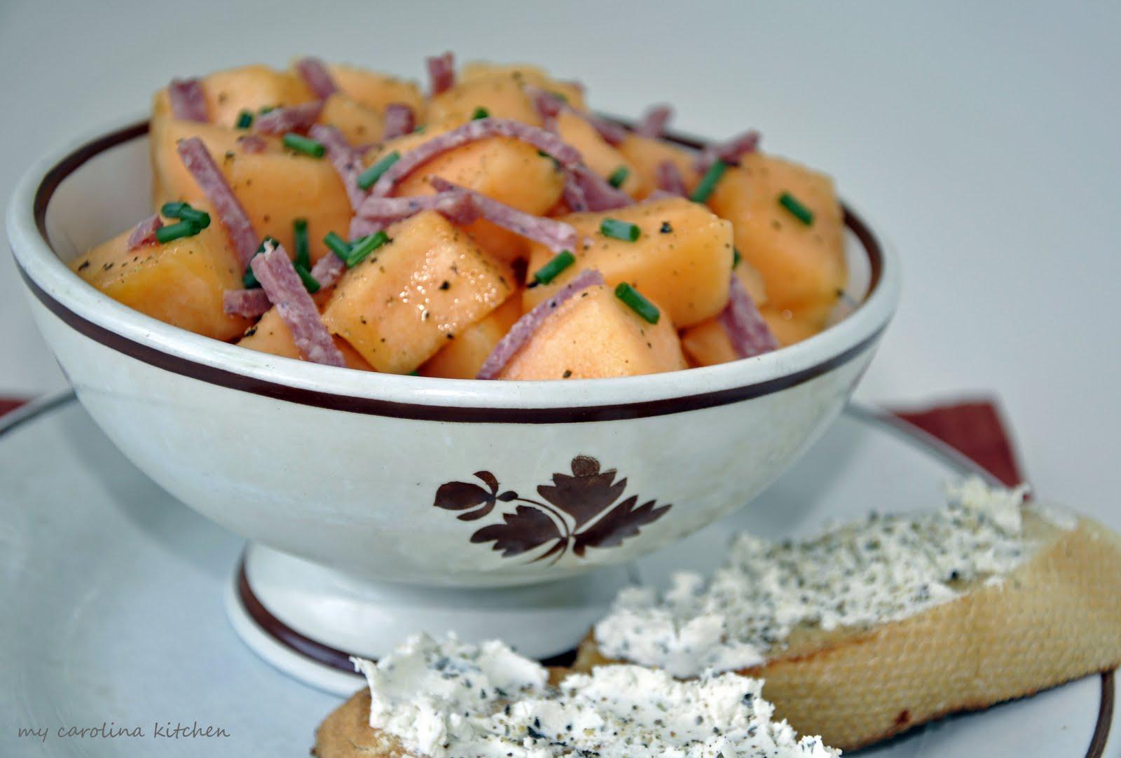 My Carolina Kitchen: An Easy Italian Appetizer - Savory Cantaloupe Salad