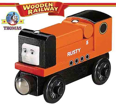 Trusty Thomas and friends Rusty the diesel tank engine from Boulder Mountain wooden train model toy