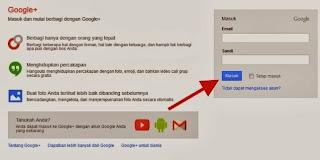 Tampilan login ke akun google+