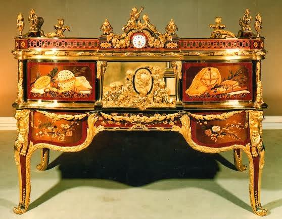 Ebenisterie d 39 art ren daid bureau cylindre de louis for Meuble bureau japonais