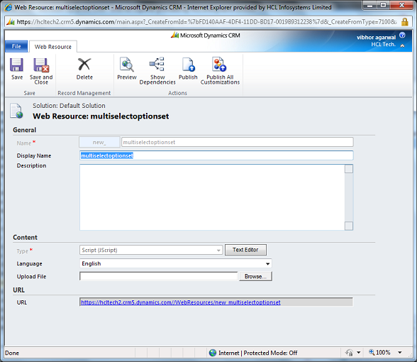 set selected option javascript crm 2011