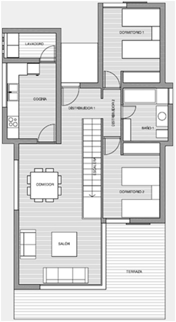 3D home plans. Three bedroom modern house, first floor