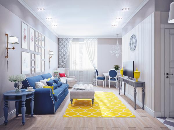 Bleu et Jaune décoration d'intérieur