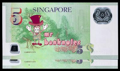 Singapore 5 dollars reverse varieties