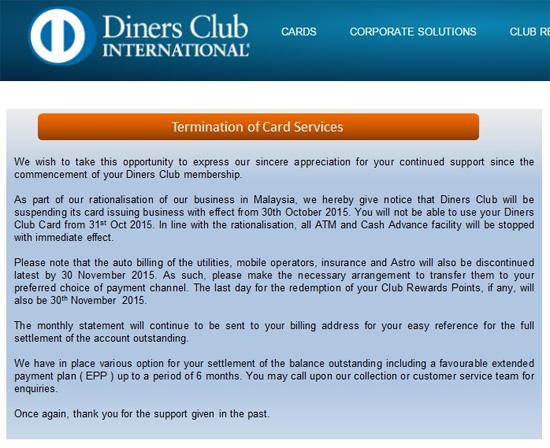 Kad Kredit Diners Club Tidak Boleh Digunakan di Malaysia