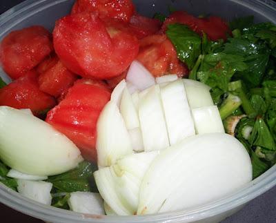 tomate, cebolla y apio