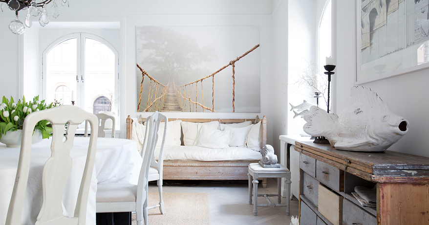 shabby and charme nordic style e shabby chic per un bellissimo appartamento svedese. Black Bedroom Furniture Sets. Home Design Ideas