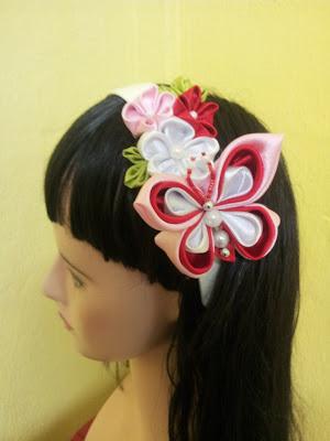 tsumami kanzashi, headband, butterfly, plum blossom, cekak rambut, hair accessory