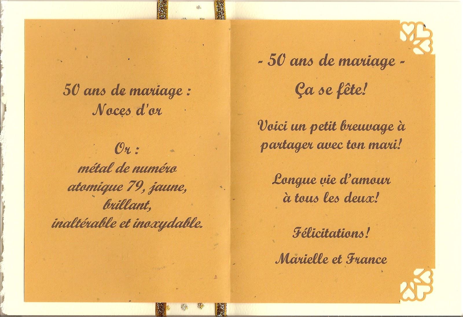 Cr ations carmic mariage 50e anniversaire carte for 50e anniversaire de mariage