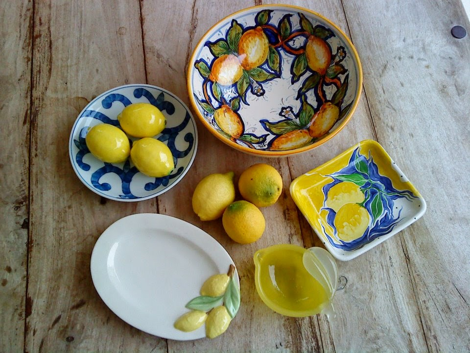 Lemon decorated ceramics.
