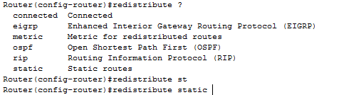 redistribute static route