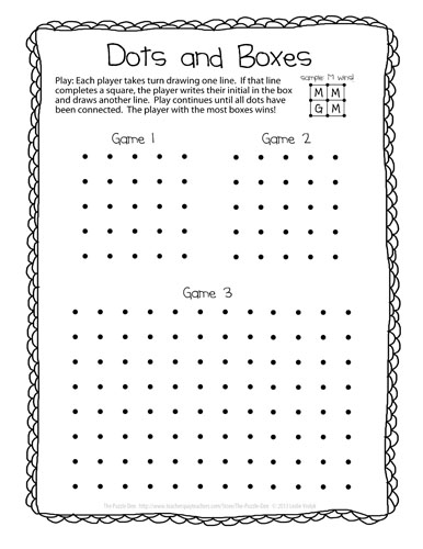 graphic about Dots Game Printable titled The Puzzle Den: Dots and Packing containers Freebie
