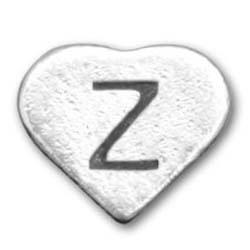 Peerless heart shape silver letter Z beads