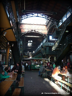 Overlooking the inside of the Hamburg fish market,
