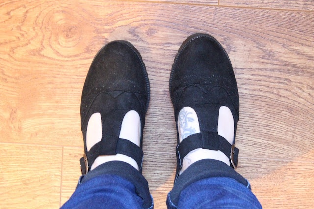 primark black suede t bar brogues