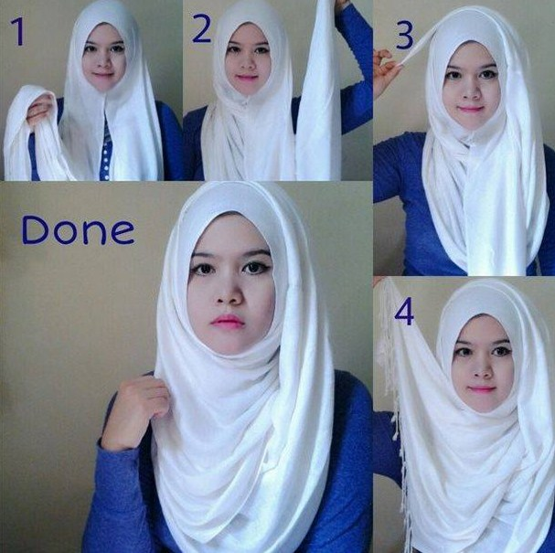 Model 4. Kreasi Hijab Paris Modern Terbaru 2015 Tanpa Ciput Ninja