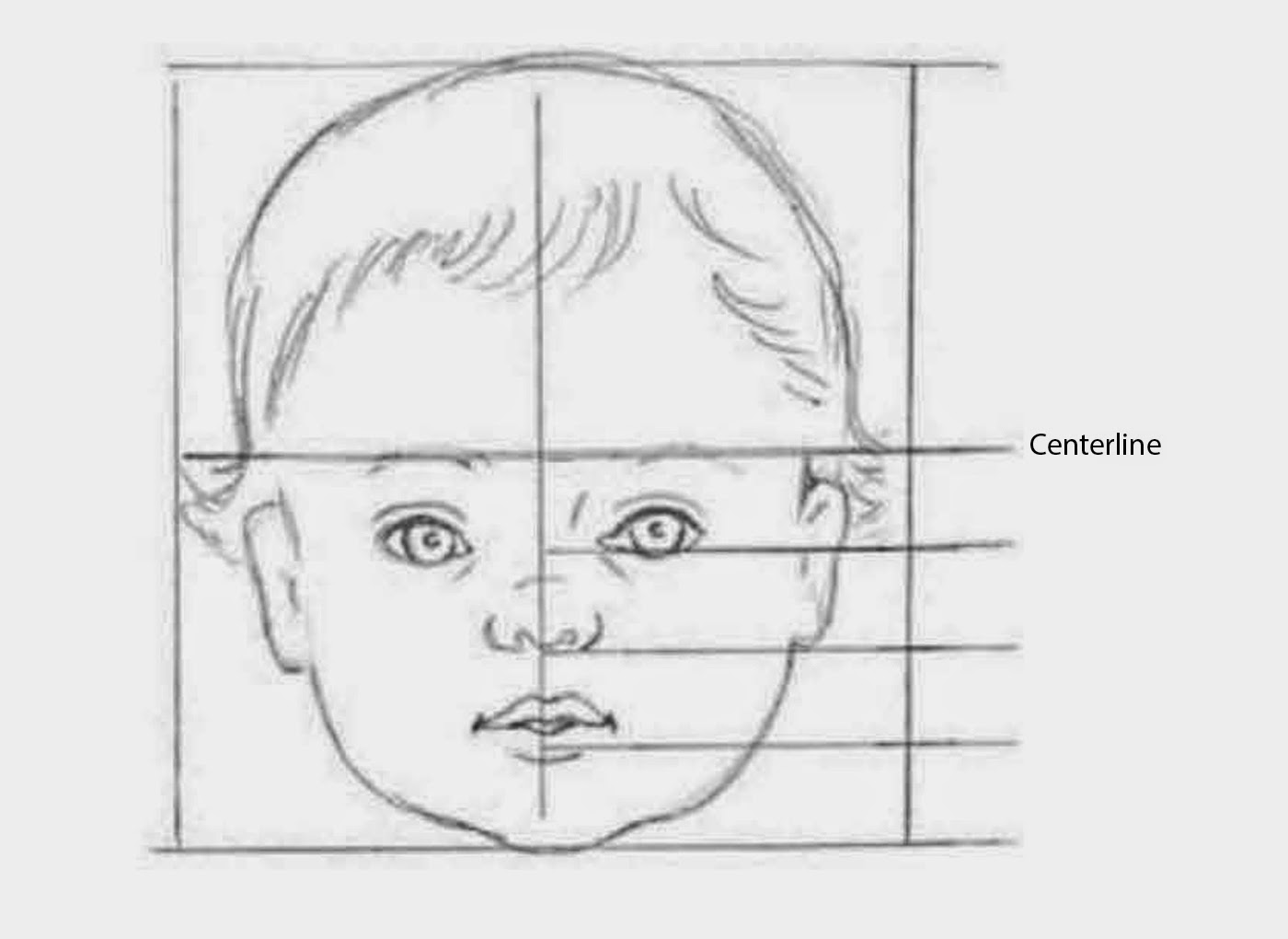 Drawing an infant a babys head fits into a square shape as shown here babies have larger foreheads than adults do so their eyebrows not their eyes