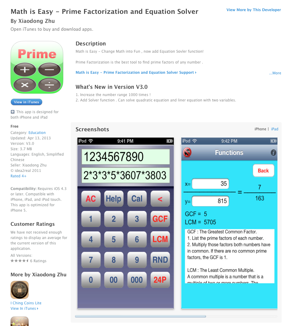 Free iOS App Today: Math is Easy - Prime Factorization and Equation ...