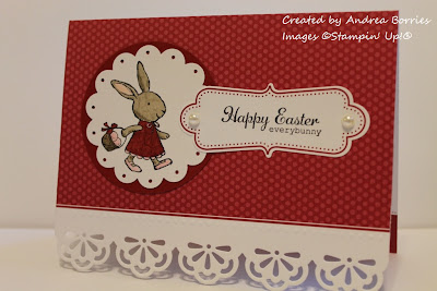 "Everyday Elegance Simply Sent card base with image of a bunny carrying an Easter basket and the sentiment ""Happy Easter everybunny."""