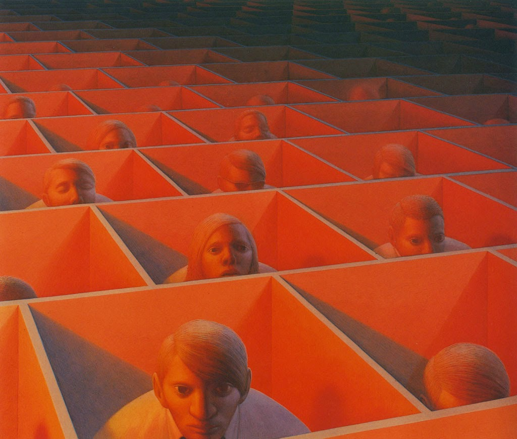 George Tooker, Landscape with figures, 1966