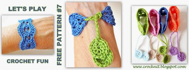 free crochet pattern bracelet wristband boho