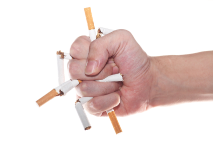 Crushing cigarettes with hand