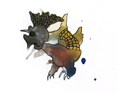 watercolor ink blot monster drawings dinosaur